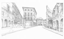 2 - Piazza Bra, the entrance of Via Mazzini, on the right the Arena