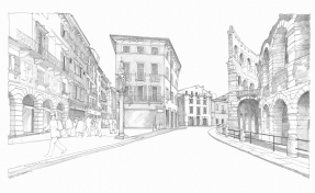 2 - Piazza Bra, the entrance of Via Mazzini, on the right the Arena