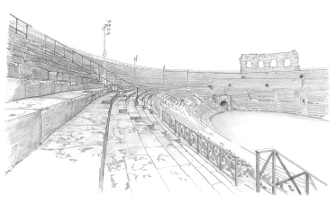 4 - Interior view of the Arena, the bleachers, the cavea and the Wing on the background