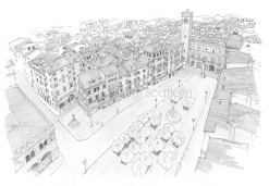 Piazza delle Erbe: view of the square from the top of the Lamberti Tower
