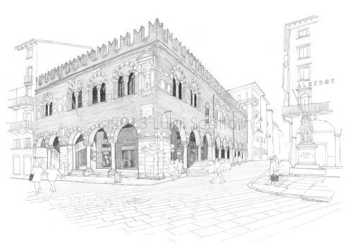 Piazza delle Erbe: the Domus Mercatorum