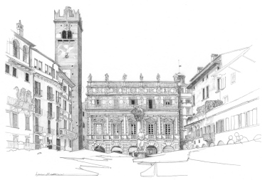 Piazza delle Erbe, Palazzo Maffei with the Tower of Gardello, on the left the houses of the Ghetto, on the right the houses of Mazzanti