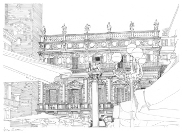 Piazza delle Erbe, Palazzo Maffei and the column of San Marco