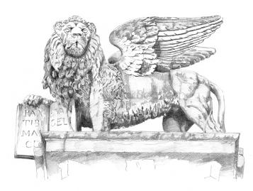 Piazza delle Erbe, the lion of S. Marco