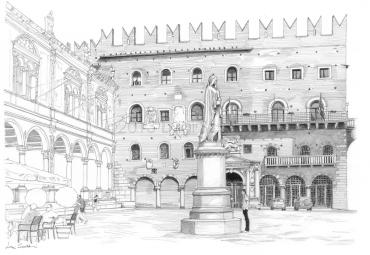 Piazza dei Signori, on the left the Loggia del Capitano, in the background the Palazzo del Governo and in the foreground the statue of Dante Alighieri.