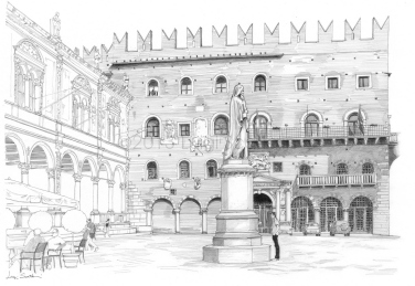 Piazza dei Signori, on the left the Loggia del Capitano, in the background the Palazzo del Governo and in the foreground the statue of Dante Alighieri.