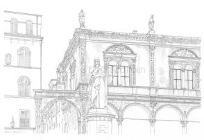19 - Piazza dei Signori, Loggia del Capitano and the statue of Dante Alighieri