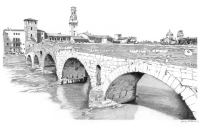 Ponte Pietra, view from the Adige left bank, in the background the Duomo with its distinctive bell tower, on the right the San Giorgio church