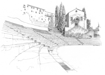 Roman Theatre, view from the bleachers and the cavea