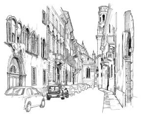 Via Arcidiacono Pacifico, on the background the Duomo