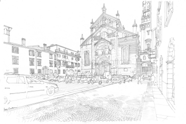 "The Duomo of Verona with its beautiful square ""full"" by cars"