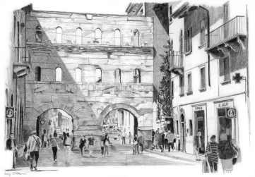 Porta Borsari, the ancient gateway to decumano massimo of Verona in the romans times