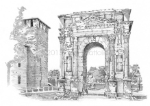Gavi Arch: view from the gardens in front, on the left one of the towers of Castelvecchio