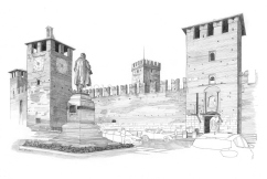 The impressive Castelvecchio with the statue of the Count of Cavour