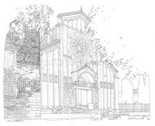 Basilica of San Zeno, view from the gardens of the square of the main facade